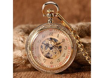 Gold Skeleton Mechanical Hand Winding Pocket Watch Fickur + Gift Box