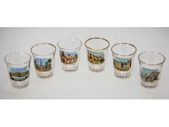 Set of 6x 1950's shot glasses,enameled Scotish views,good condition