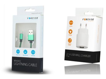 Flätad USB kabel & 2Amp laddare iPhone 7/7 Plus/6/6S/iPad