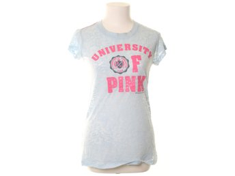 Victoria's Secret, T-shirt, Strl: L, PINK french terry, Blå/Rosa