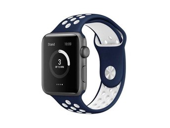 Sport Band 38/40mm Apple Watch Armband - (BLUE / WHITE)
