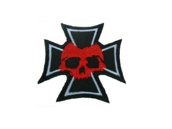 Iron Cross Red Skull Patch Brodyrmärke.