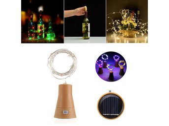 Solar Powered 8LEDs Cork Shaped Silver Wire Wine Bottle F...