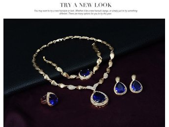 Egyptian Jewelry Sets 18K Gold Plated Ruby Sapphire Pendant Jewelry Sets For Bri