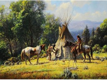 Indians Horses Wigwam Teepee Olja på Duk Oil on Canvas