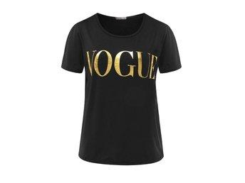 Svart T-shirt Vouge Guld Tryck Topp Populär - Uppsala - Svart T-shirt Vouge Guld Tryck Topp Populär - Uppsala