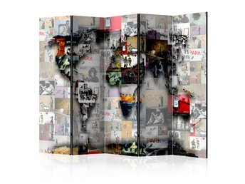 Rumsavdelare - Room divider – World map – Banksy 225x172