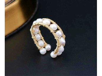 Graceful Design Natural Pearls Ring In 14K Yellow Gold Plated MR0003
