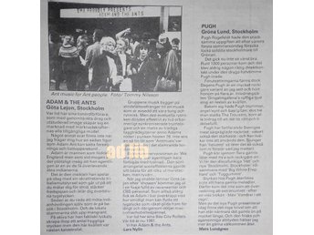 ADAM & THE ANTS, PUGH Konsertrecensioner TIDNINGSARTIKEL 1981 - öckerö - ADAM & THE ANTS, PUGH Konsertrecensioner TIDNINGSARTIKEL 1981 - öckerö
