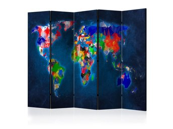 Rumsavdelare - Room divider – Colorful map 225x172