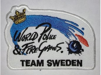 TYGMÄRKE. WORLD POLICE & FIRE GAMES. TEAM SWEDEN. ORIGINAL! HELT OANVÄNT!