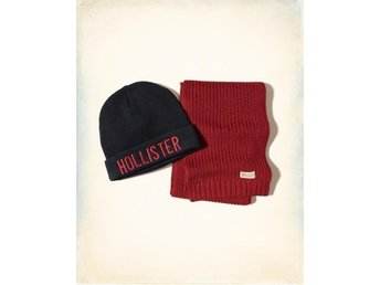 Hollister Scarf SET Mössa, Svart, Ny New BEANIE 100% original