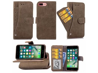 Suede Card Slot Case, iPhone6+ - Grå