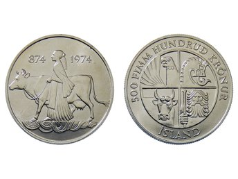 ISLAND. Republik. 500 Kronur 1974. 1100th Anniversary of the First Settlement.