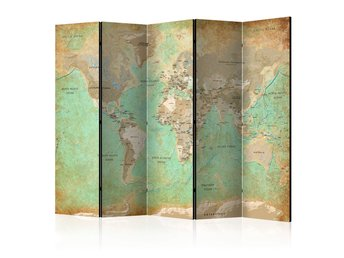Rumsavdelare - Turquoise World Map  Room Dividers 225x172