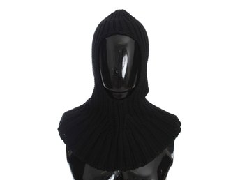 Dolce & Gabbana - Black Cashmere Knitted Hood Scarf Hat