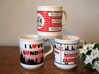 3 Engelska Temuggar Muggar London Made in England Retro