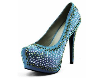 Damskor Skor Ladies Platform High Heels Party Bröllop Glitter Stiletto storlek