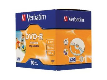 DVD-R Verbatim 4,7GB 10p 16X Wide JC Printable