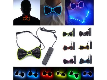 Battery Powered LED Light Up EL Mens Bow Tie Necktie for ...