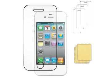 3-pack Apple iPhone 4/4S skärmskydd transparent med putsduk