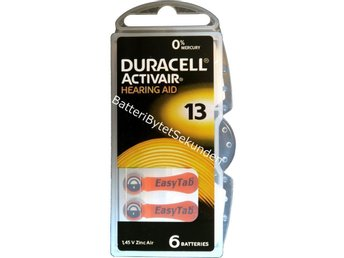 30 x Duracell Activair Size 13 (Orange tab) Hearing Aid Batteries A13 D13 PR48