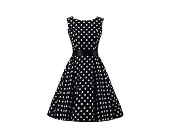 Stl M Polkadot Rockabilly Klänning 50 tal Swing Dress Svart DC3016