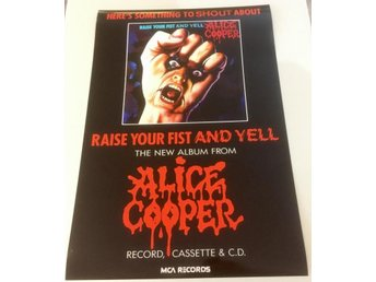 ALICE COOPER RAISE YOUR FIST AND YELL 1988 POSTER