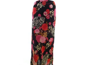 BERKERTEX Maxi Dress Midi Skirt Size 16 (44) Black 100% Viscose Flowers pink