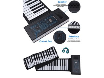 Roll-up Piano 61 tangenter keyboard(with built in microphone and external pedal)