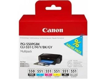 Canon CLI-551 Multipack (6pcs) C/M/Y/BK/GY/PGBK
