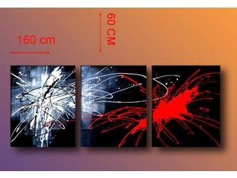 Abstrakt, oljemålning på duk 160x60 cm - Tollarp - Abstrakt, oljemålning på duk 160x60 cm - Tollarp