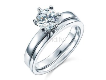 Ring Silver 1.25 Carat Simulated Diamond 2-Pc Set size 7