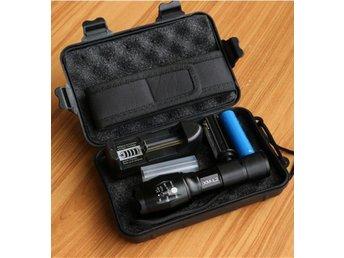 LED flashlight Tactical 8000 Lumens CREE XM-L2 Zoomable 5 Modes Black aluminum - Landskrona - LED flashlight Tactical 8000 Lumens CREE XM-L2 Zoomable 5 Modes Black aluminum - Landskrona