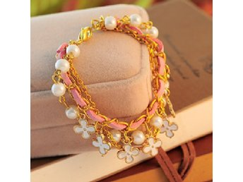 Bracelet Fashion Elegant Flower Leather Gold Chain Pearls Armband Pärlor