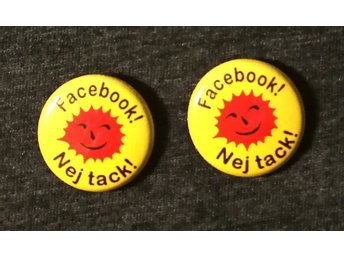 2 st, facebook, nej tack! pin/badge 25mm