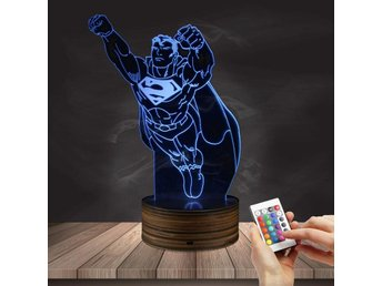 Superman led 3d lampa nattlampa