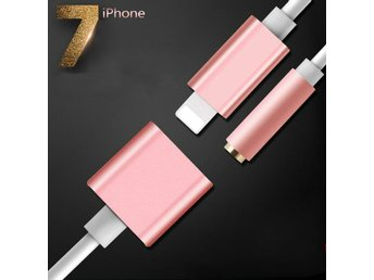Rose Gold 2in1 iPhone 7 Lightning to 3.5mm Aux Hörlurar Adapter, Laddare Kablar