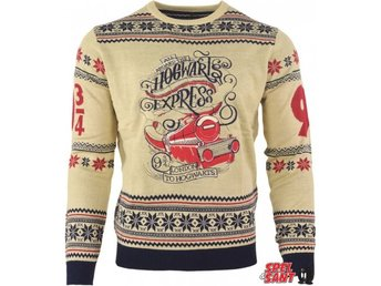 Harry Potter Official Hogwarts Express Beige Jultröja (Medium)