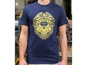 XL/L HELT NY, COOL TEXT: Grammar Police - To Correct and Serve - OANVÄND, unisex