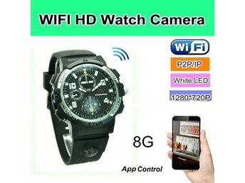 WIFI klock kamera, P2P / IP-funktion, Video 1280 * 720p, Appkontroll, LED-ljus