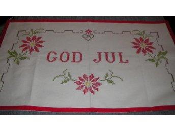Vintage Julbonad Väggbonad 50-tal Korsstygn GOD JUL Text - Trollhättan - Vintage Julbonad Väggbonad 50-tal Korsstygn GOD JUL Text - Trollhättan