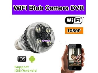 WIFI Blub Camera DVR, 1280 * 1080p, Vit LED, Support Iphone och Android