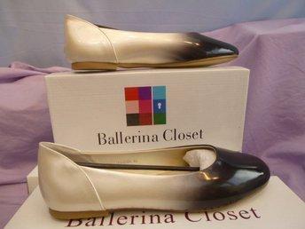 Javascript är inaktiverat. - Norrtälje - Ballerina sko i Svart och Pärlemo, textil/läder. Design Ballerina Closet. Storlek 40. - Norrtälje