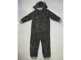 Jumpsuite Leopard fluffy fleece fr Lindex stl 110/116