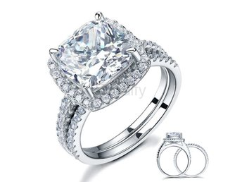 Ring Set 5 Ct Cushion Cut Simulated Diamond size 5