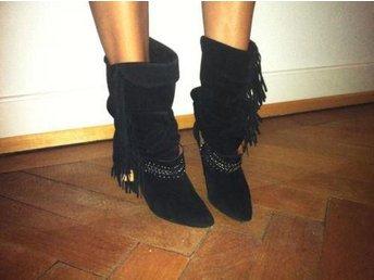 Isabel Marant boots i svart mocka frans trend svarta vintage 40 39 etno boho - Lin - Isabel Marant boots i svart mocka frans trend svarta vintage 40 39 etno boho - Lin