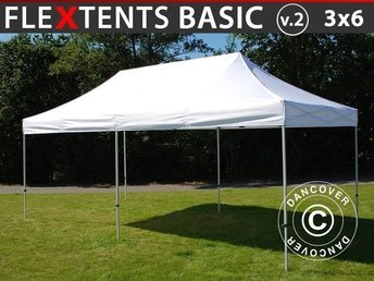 Snabbtält FleXtents Basic v.2, 3x6m Vit - Pop Up Tält, Eventtält, Utepaviljong