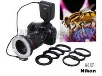 Macro Ringblixt LED O-blixt Nikon SLR DSLR step-ringar