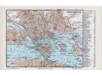 Stockholm 1897 orig. city map 24x15 cm + lexicon text tysk - Riddarholmen Staden